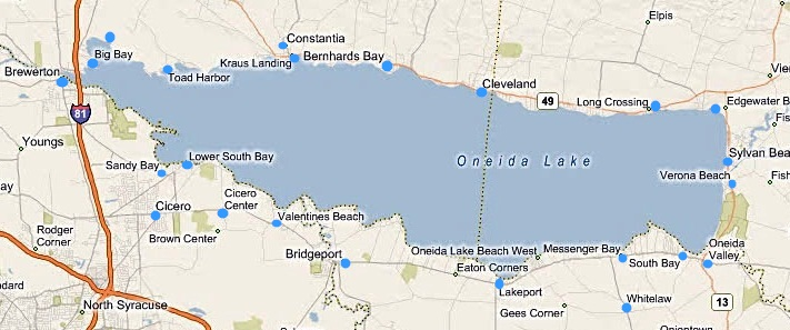 Oneida Lake Map Oneida Lake New York   All the information you need!